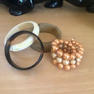 Vintage Bracelet Lot Bangle Cuff Rockabilly